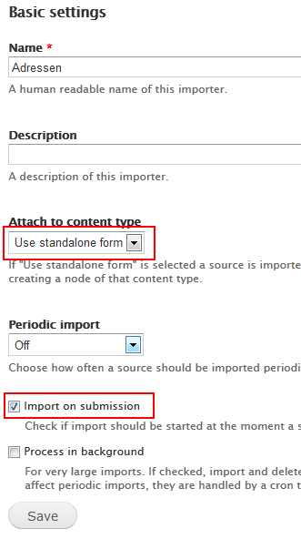 Basic Feeds import settings