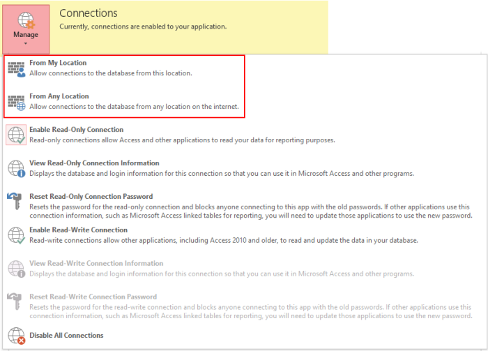 Modify Access Settings